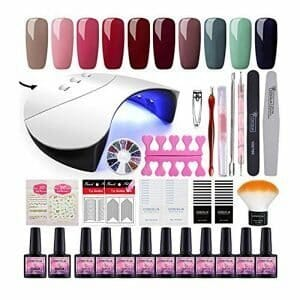 COSCELIA 10PC Nail Gel Polish Art Design Kit with 36W Lamp Top Base Coat and Nail Decorations