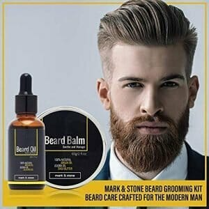 Mark & Stone Beard Grooming Kit | Beard Balm, Beard Oil, Beard Brush, Beard Comb, Stainless Steel Trimming Scissors, Beard Shaper, Storage Bag and Multifunctional Beard Utility | Beard Care Gift Set