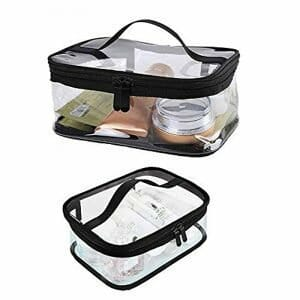 2 PCS Portable Clear Makeup Bag Zipper Waterproof Transparent Travel Storage Pouch Cosmetic Toiletry Bag With Handle