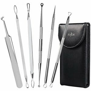 Blackhead Remover Comedone Extractor, Curved Blackhead Tweezers Kit, 6-in-1 Professional Stainless Pimple Acne Blemish Removal Tools Set, Silver