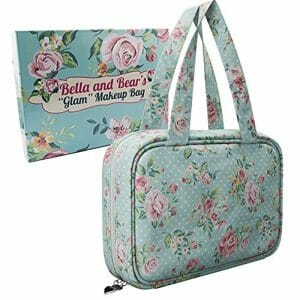 Bella and Bear – Makeup Bag With Pretty Floral Print – Waterproof Toiletry Case For Cosmetics – Travel Organiser – Multiple Compartments, Handles & Hanging Hook In A Beautiful Gift Ready Box