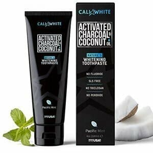 Cali White ACTIVATED CHARCOAL & ORGANIC COCONUT OIL TEETH WHITENING TOOTHPASTE MADE IN USA Natural Whitener Vegan Fluoride Free Sulfate Free Zero Peroxide for Sensitive Teeth Safe for Kids MINT