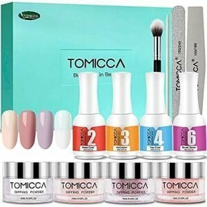 Dip Powder Nail Kit, TOMICCA Nail Dipping Powder System Starter Kit of 4 Colors 0.52oz – Finer Powder for Excellent Color – Easy to Apply (Pink Series)