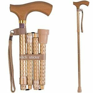 Switch Sticks Designer Folding Walking Stick, Folding Walking Cane, Collapsible Walking Stick, Adjustable From 32 to 37 Inches, Engraved Pearl Gold
