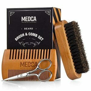 Wooden Beard and Comb Set for Men – Perfect for Beards Head Hair and Mustaches Men's Grooming Kit for Styling, Applying Beard Oils and Balms for Better Hair Care Growth and Impressive Hair Health